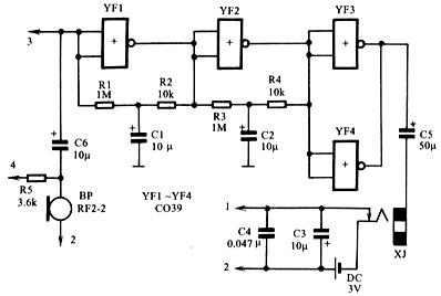用cmos电路组装的助听器电原理图如图94-1所示