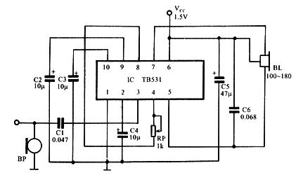 用tb531集成电路构成的耳聋助听器如图102所示