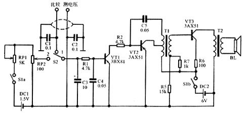 器的输入电压来自dc1经电位器rp1和rp2构成的分压器