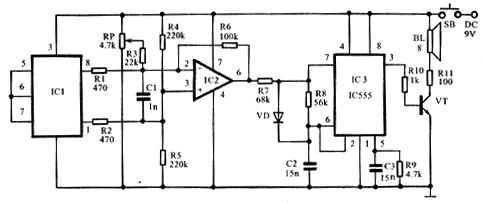 脉冲电压经vt(3dg100b)三极管放大驱动扬声器发声,对于不同频率的脉冲