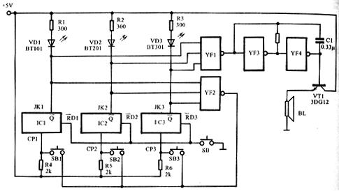 电路图如图136所示,其工作原理如下:在抢答问题之前,裁判员应先按一