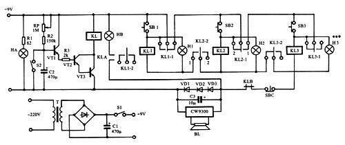 5个中间继电器5路抢答器电路图
