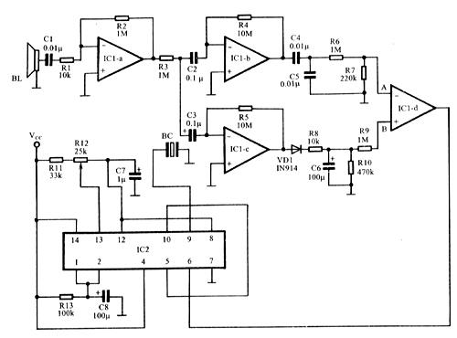 其中集成电路ic1a~ic1d为lm3900,ic2为ne556,lm556或sg1555均可.