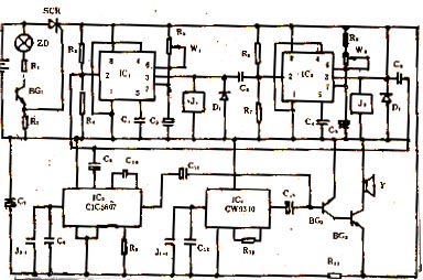它是由光控开关电路,定时转换电路