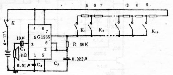 555音频产生电路扬声器接线图