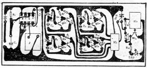 密码式电子门铃的印刷电路如图65-5所示.